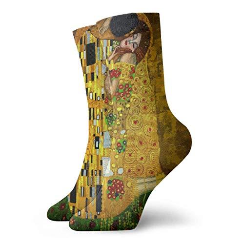 Kevin-Shop Gustav Klimt Baci Calzini a Compressione Divertenti Calzini Casual per l'equipaggio, Calzini Sottili Caviglia Corta per Esterno, Atletica Traspirazione dell'umidit