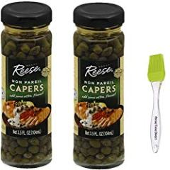 Reese Non Pareil Capers, 3.5 Oz (Pack of 2) Bundled with PrimeTime Direct Silicone Basting Brush in a PTD Sealed Bag