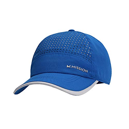Mission Max Cooling Laser Cut Performance Hat- Unisex Baseball Cap, Cools when Wet- Blue/Grey