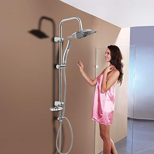 Hengda Duschgarnitur mit höhenverstellbare Wandhalterung Verchromt Duschstange Duschset 2 Strahlarten