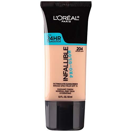 L'Oreal Paris Makeup Infallible Up to 24HR Pro-Glow Foundation, 204 Natural Buff, 1 fl. oz.