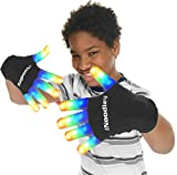 The Noodley Flashing LED Finger Light Gloves with Extra Batteries - Kids and Teen Sized Ages 13 and up (Large, Black)