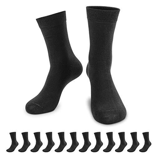 QINCAO Calzini Uomo e Donna Sportivi 12 Paia Calze Lunghe Cotone Sport Calzettoni con Buona Elasticit Alti Socks da Corsa(Nero 12, 43-46)