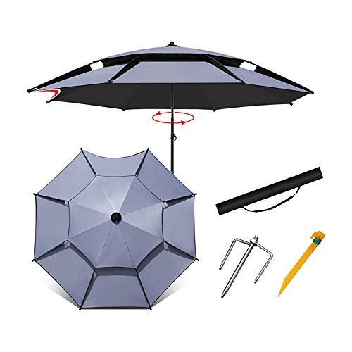 Aly Sonnenschirm im Freien 180/200 / 213 cm tragbarer und winddichter Strandschirm mit Sandanker und gekipptem Aluminiummast, Beständigkeit gegen schädliches Sonnenlicht, mit Tragetasche