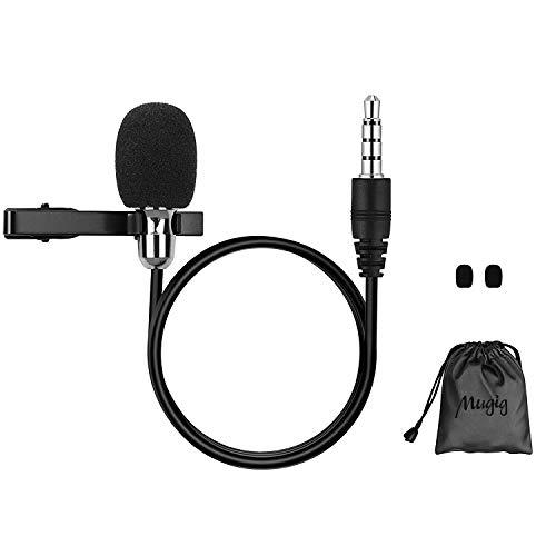 Mugig Lavalier Mikrofon, Omnidirectional Kondensator-Mikrofon für iPhone & Android Smartphone, Laptop, MacBook, iPad mit Lavalier Lapel
