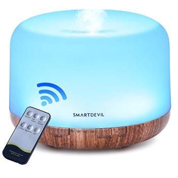 SmartDevil Humidificador Ultrasónico 500ml, Difusor de Aromaterapia,purificador de aire con LED de 14 colores de para luminoterapia en el Hogar, Control Remoto, Temporizador Hogar,Oficina,Spa, Bebé