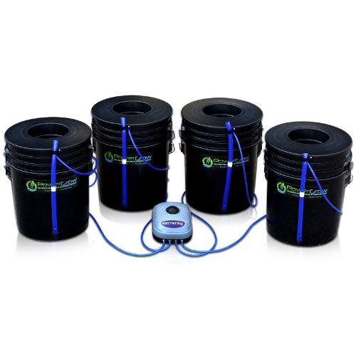 Deep Water Culture (DWC) Hydroponic Bubbler Bucket Kit by PowerGrow Systems (4) 5 Gallon - 6' Buckets