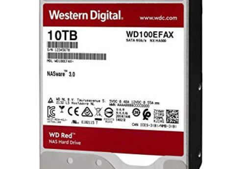 "WD Red 10TB NAS Hard Drive - 5400 RPM Class, SATA 6 Gb/s, 256 MB Cache, 3.5"" - WD100EFAX"