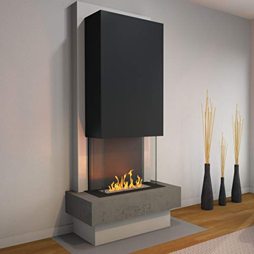 muenkel design Milano [Modern Design Ethanol Fireplace]: Concrete (Concrete Look) - Line Burner 500 - Hood Black/Grey