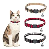 TAILGOO Cat Collar Breakaway with Bell - Safe Quick Release 3 Pack Classic Plaid Kitty Collars, Blue, Pink, Cream, Adjustable Kitten
