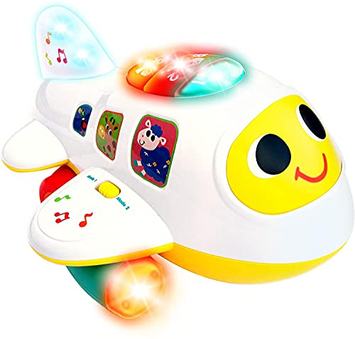 Baby Airplane Toy with Light and Music, Electronic Baby Learning Toys for 1 Year Old Boy and Girls, Baby Boy Toys for Toddlers, Bump and Go Airplane Toys for Baby, Age 1 2 3 Year Old Boy Gifts