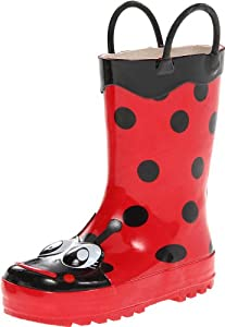 Western Chief Girl's Waterproof Printed Rain Boot with Easy Pull on Handles, Lucy The Ladybu, 5 M US Toddler