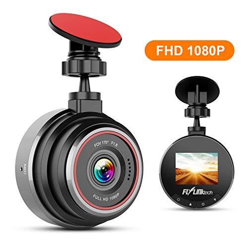 FLYLINKTECH Dash Cam Telecamera per Auto FHD 1080P, Grandangolare di 170°Super-Condensatore WDR, Visione Notturna, Dashcam con Registrazione in Loop, G-Sensor, 1.5'Schermo LCD
