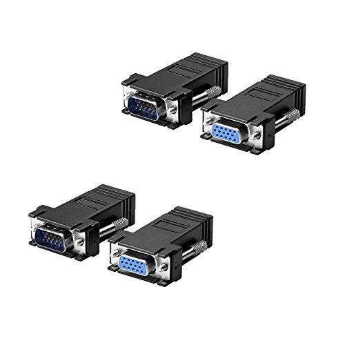 Sienoc 2 set (4pcs) Coppia ADATTATORE VGA PROLUNGA VIA CAT5/CAT6/RJ45 Cavo Adapter Kit EXTENDER