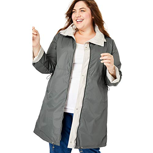 Woman Within Women's Plus Size Reversible Raincoat - 18 W, Olive Grey Soft Sand