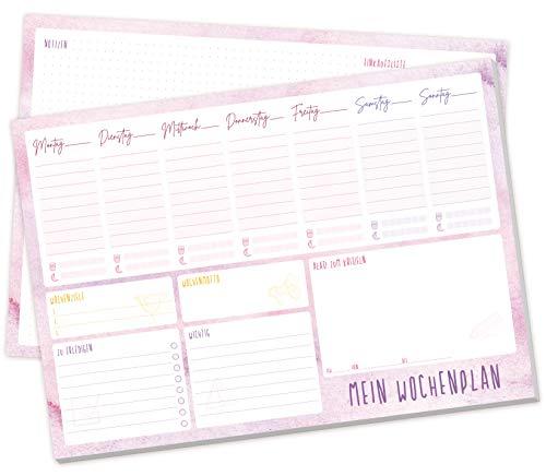 Wochenplaner Block A4 ohne festes Datum | Terminplaner mit To-Do-Liste, Einkaufsliste, großem Notizfeld und vielem mehr - von Trendstuff by Häfft | klimaneutral & nachhaltig