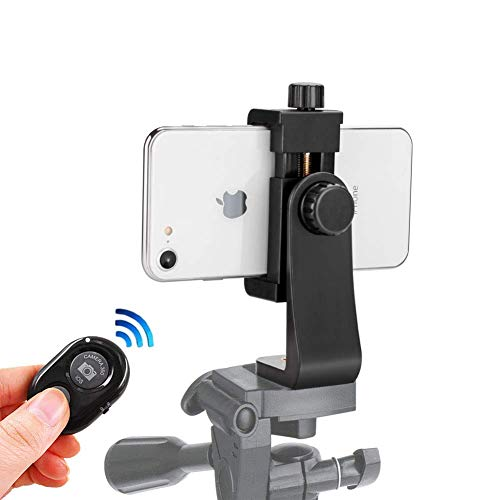 Cell Phone Tripod Mount with Remote 360'' Rotation Smartphone Holder Phone Adapter Clip Compatible with iPhone X 8 7 6 6s Plus Samsung Nexus