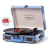 Dodocool - Tocadiscos de vinilo, 3 velocidades con dientes azules, 2 altavoces estéreo integrados, conversión de vinilo a MP3/salida de línea RCA/entrada AUX/USB/SD - Estilo Jean