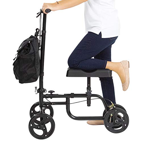 Vive Mobility Knee Walker - Steerable Scooter For Broken Leg, Foot, Ankle Injuries - Kneeling Quad Roller Cart - Orthopedic Seat Pad For Adult and Elderly Medical - 4 Wheel Caddy Crutch - Bag Included