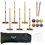 Juegoal Six Player Croquet Set with Wooden Mallets Colored Balls for Lawn, Backyard and Park, 28 Inch