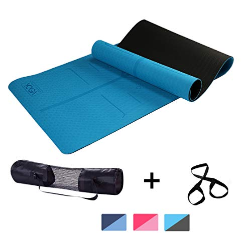 Clear Choice Yoga TPE Material Workout Yoga Fitness Pilates and Meditation; Anti Tear Anti Slip and 6 mm Extra Thick Cushion Mat with Carry Bag and Strap for Men and Women; Ocean Blue