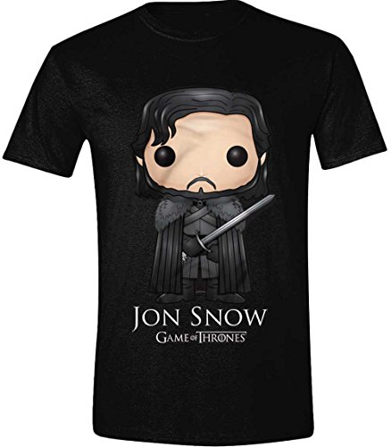 Game of Thrones Funko Jon Snow, Camiseta para Hombre, Negro (Black), X-Large