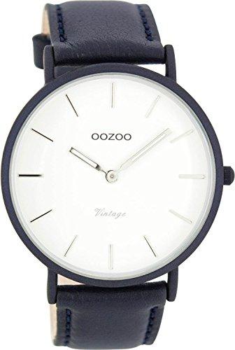 Oozoo Vintage Ultra Slim Leder 44 MM Weiss/Dunkelblau C7732