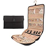 Travel Jewelry Organizer Roll with Zipper Pockets Hanging Jewellery Roll Bag Case for Rings, Earrings, Necklaces, Bracelets, Brooches, Waterpoof Bag with Separate Compartments