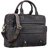 STILORD 'Leander' Bolsa de Negocios o maletín para portátil de 15.6'' Bolso de Piel para Trabajo de Hombres y Mujeres Bolsa Mensajero de Cuero auténtico, Color:marrón Oscuro