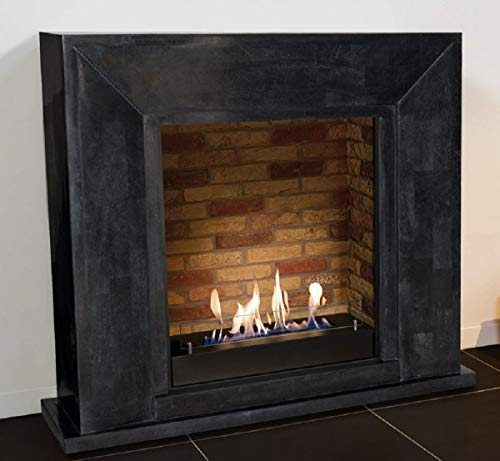 Casa Padrino ethanol fireplace with a ceramic bioethanol burner black/multicolor 119 x 36 x H. 101 cm - Natural Stone Fireplace with Stone Decor