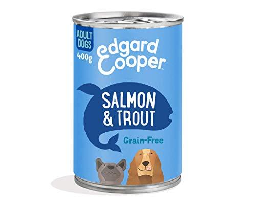 Edgard & Cooper Comida Humeda Perros Adultos Natural Sin Cereales, Latas 6x400g Salmon y Trucha Frescos, Fácil de digerir, Alimentación Sana Sabrosa y equilibrada, Proteína
