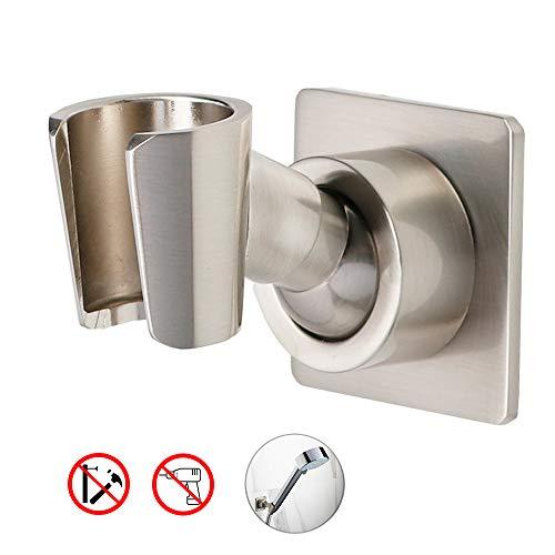 Shower Head Holder Adjustable Handheld Shower Head Bracket Adhesive Brass Shower Wall Mount Holder Shower Wand Holder Brushed Nickel Drill Free