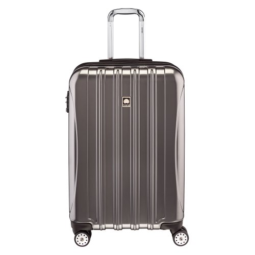 DELSEY Paris Helium Aero Hardside Expandable Luggage with Spinner Wheels, Titanium Silver, Checked-Medium 25 Inch
