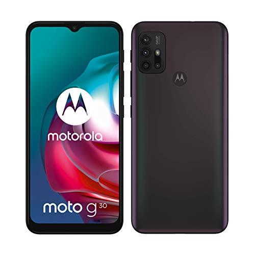 "moto g30 Dual-SIM Smartphone (6,5""-Max Vision-HD+-Display, 64-MP-Vierfach-Kamerasystem, 128 GB/6 GB, 5000 mAh-Akku, Android 11) Schwarz mit Perlmut-Effekt, inkl. Schutzcover [Exklusiv bei Amazon]"