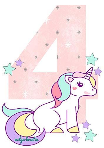 Wolga - Camiseta de cumpleaños para niña, diseño de 4 Unicornios