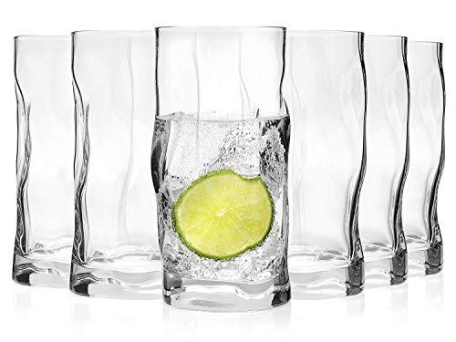 Bormioli Bicchiere Set 'Sorgente' 6Pezzi | capacità: 420ML | Altezza Totale del Vetro 15,5cm | stylisches Universale in Vetro per Cocktail, Birra O softdr Inks