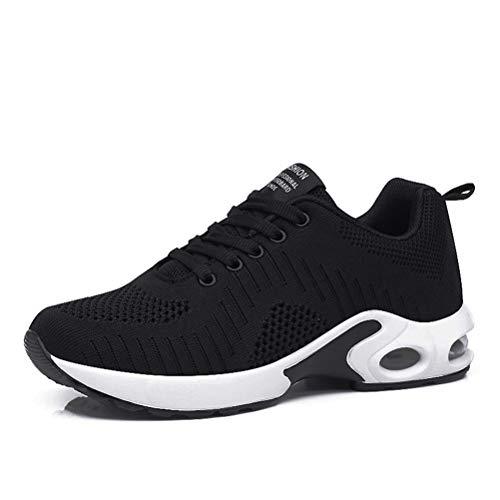 Dannto Zapatos Deporte Mujer Zapatillas Deportivas Correr Gimnasio Casual Zapatos para Caminar Mesh Running Transpirable Aumentar Más Altos Sneakers (Negro-B,38)