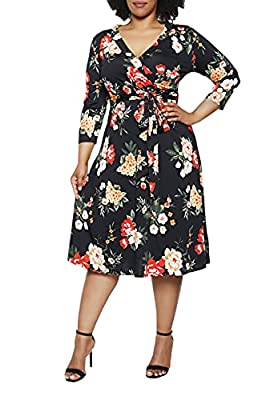 Plus size midi dresses with 3/4 sleeves, GIFT FOR MOTHER XL(US 16-18),XXL(US 20-22), XXXL(US 22-24), more size details, check the description for reference Floral print, vintage, fashion V-neck, faux wrap dress, knee length, belt Casual, semi-formal,...