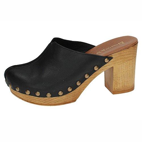 DLIRO 825 Zueco Piel Y Madera Mujer Sandalias TACÓN Negro 38