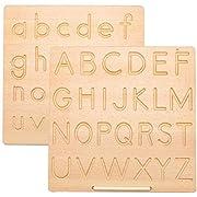 HEITIGN Alphabet Tracing Boards, ABC ABC Trace Letters Board, Montessori Schreibpraxis Learning Board Stamm Pädagogische Zeichenbretter für Kinder, Holz Doppelseitige Groß- Und Kleinbuchstaben