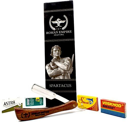 Rasoio a Mano Libera Spartacus di Roman Empire Shaving   Rasoio per Uomo Professionale da Barbiere per Barba, Baffi e Contorni con Set di 20 Lamette (Astra-Derby-Shark-Voskhod)