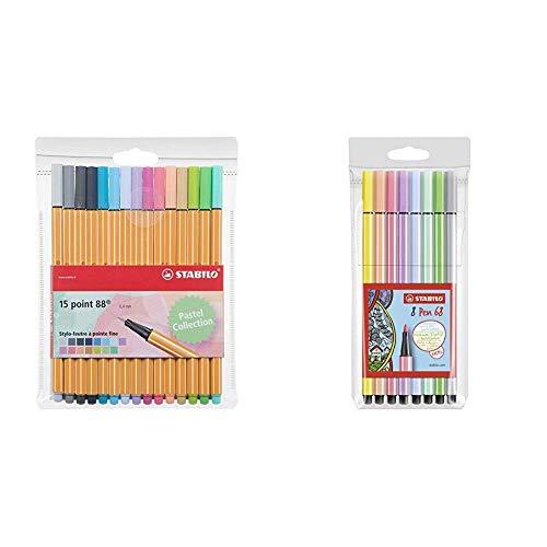 STABILO punto 88Confezione di pennarelli punta fine -Fluorescenti Coloris pastel & Pen 68 Astuccio...