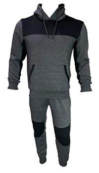 Coton Coupe Mens Soft Cotton Fleece Pullover Hoodie Tracksuit (M, Charcoal/Black)
