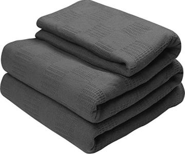 Utopia Bedding Premium Cotton Blanket Full/Queen Grey - Soft Breathable Thermal Blanket - Ideal for Layering Any Bed