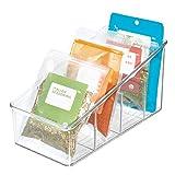 iDesign Caja transparente con 4 compartimentos, organizador de cocina grande de plástico, caja organizadora para especias o alimentos envasados, transparente