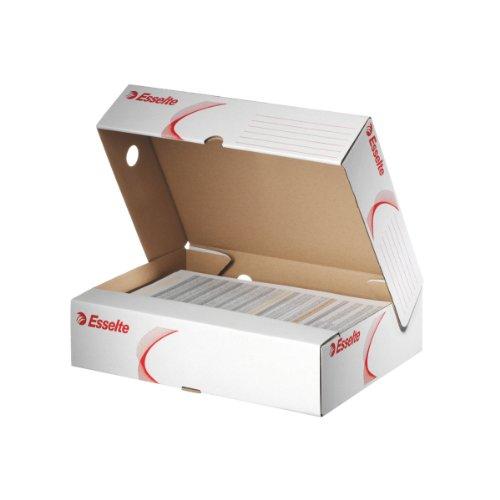 Esselte Klappschachtel, Große Öffnung und 80 mm Rückenbreite, A4, Faltbar, 10 Stück, Weiß, Standard Archiv Serie, 128005
