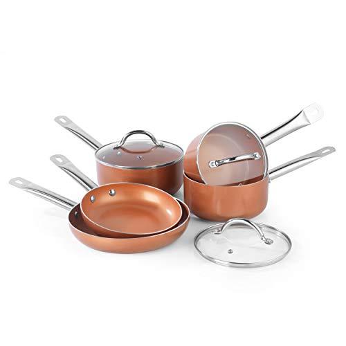 Salter BW07174AR-Set di 5 pentole in Rame e Ceramica, Marrone
