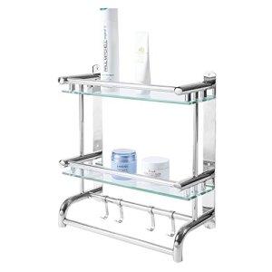 MyGift Wall Mounted Stainless Steel Bathroom Shelf Storage Rack/Organizer, 2 Tier Glass Shelves & 2 Towel Bars with Hooks