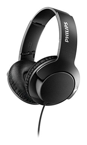Philips Bass+ SHL3175BK - Auriculares con micrófono, Cable, Bajos potentes, Plegables, Ligeros y Elegantes, Negro