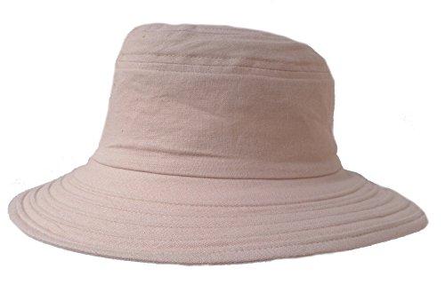 Damen Hut Leinenhut Kofferhut Reisehut Sonnenhut Sonnenschutz roll und faltbar Urlaub (Hellbeige)